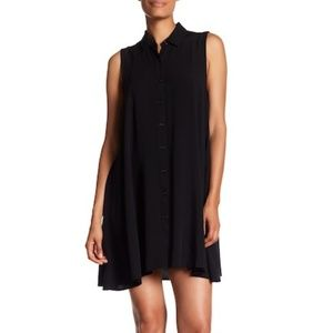 Catherine Malandrino Black Collared Button Dress